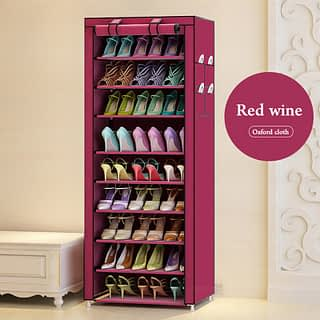 Portable Shoe Rack - Single Column-27 Pairs- Wine Red
