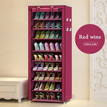 Portable Shoe Rack - Single Column-27 Pairs- Wine Red