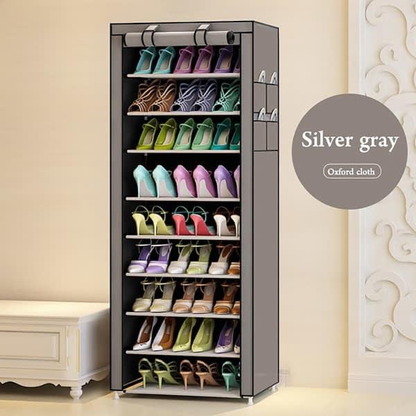 Portable Shoe Rack - Single Column-27 Pairs- Gray