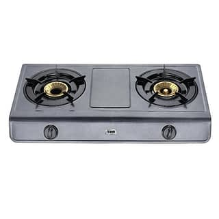 Gas Stove, Table Top, Non Stick, 2 Burner, Metalic Grey