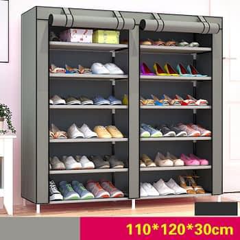 Portable Shoe Rack - 36 pairs - Grey
