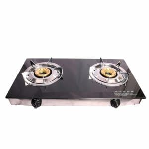 Lyons Glass Gas Double Burner Black