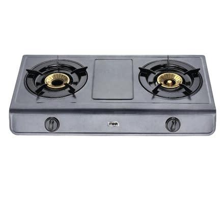 Gas Stove, Table Top, Non Stick, 2 Burner, Metalic Grey