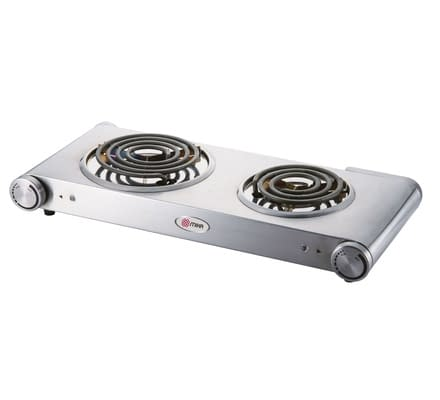 Hot Plate, Double, 1500W & 750W, Stainless steel