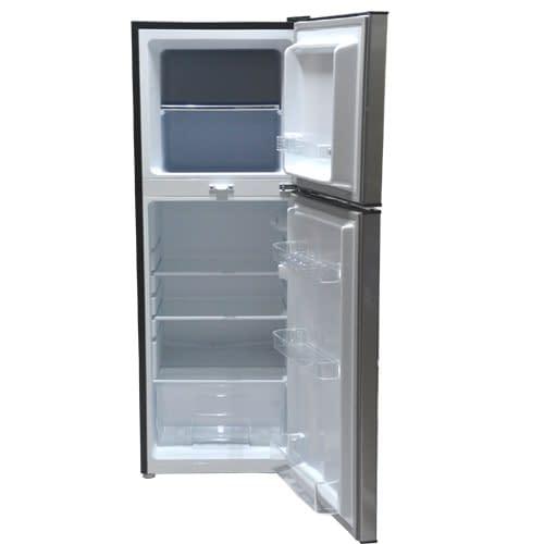 Mika Refrigerator, 138L, Direct Cool, Double Door, Dark Matt Stainless Steel