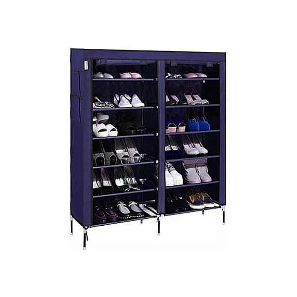 Portable Shoe Rack - 36 pairs - Navy Blue