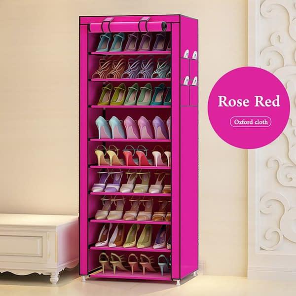 Portable Shoe Rack - Single Column-27 Pairs- Pink